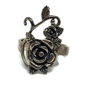 Sterling Silver Rose Vine Floral Ring